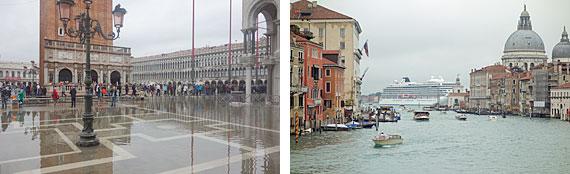 St Marcusplatsen i regnväder. Canal Grande med vaporetter och båtar.